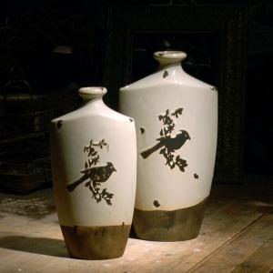 美式复古印花陶瓷大花瓶欧式田园创意花插花器餐桌摆件