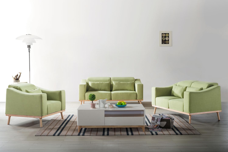 怡尚休闲系列北欧风格棉麻布绿色布艺沙发
