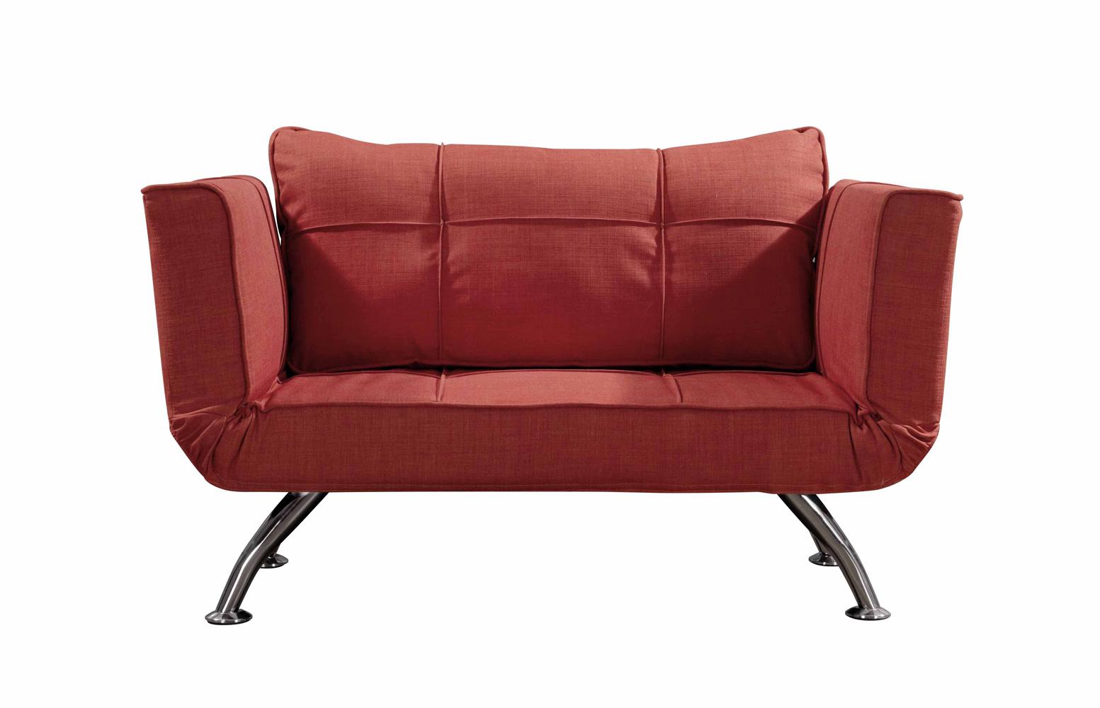 尚然格林简约现代棉麻面料红色沙发床