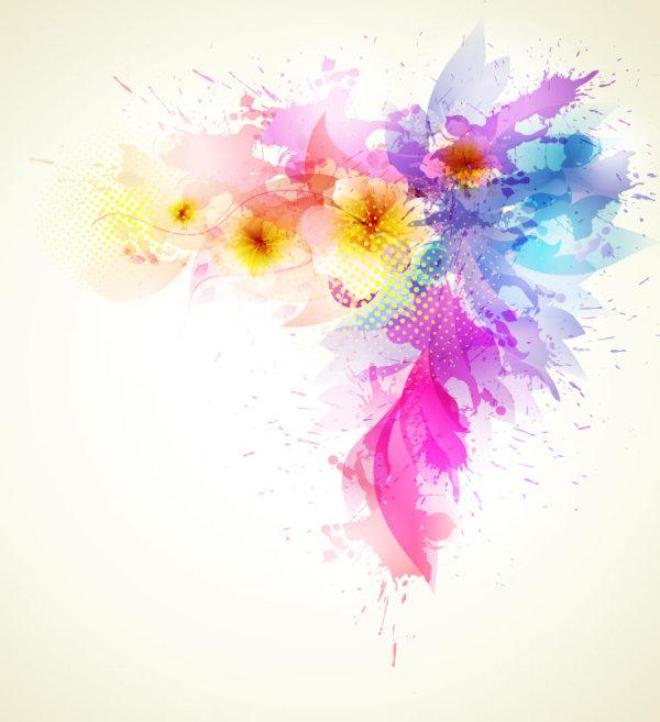 花朵喷溅彩绘矢量图