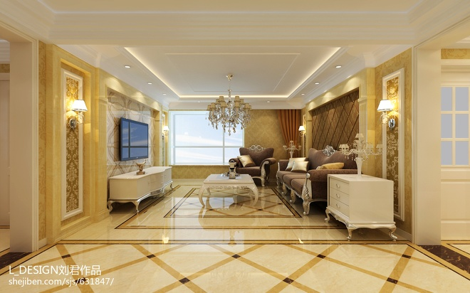 欧式客厅地砖效果图图片
