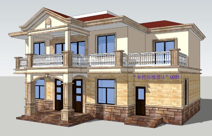 最新设计的两层自建房效果图-建房图片 最新建房图片大全