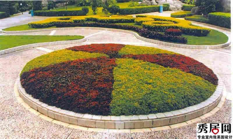 圆形花坛设计效果图别墅庭院圆形立体花坛设计图片图片