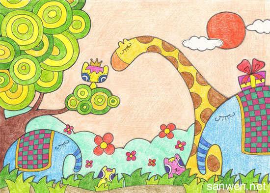儿童蜡笔风景画图片大全
