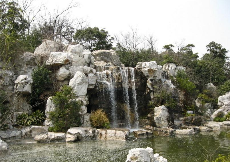 公园假山鱼池效果图