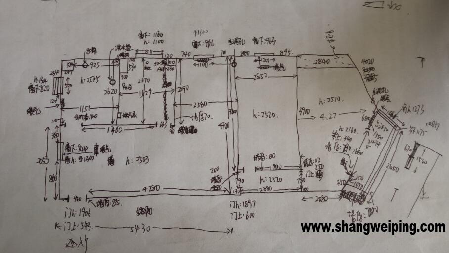在量房时,都是用单线绘制手绘图吗 原始量房图 量房图2楼.