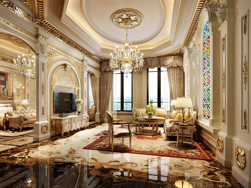 欧式风格挑高客厅装修效果图