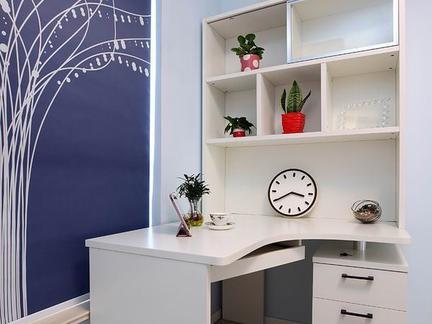 转角书柜书桌带书架装修效果图