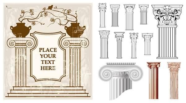 欧式古典花纹柱子矢量图