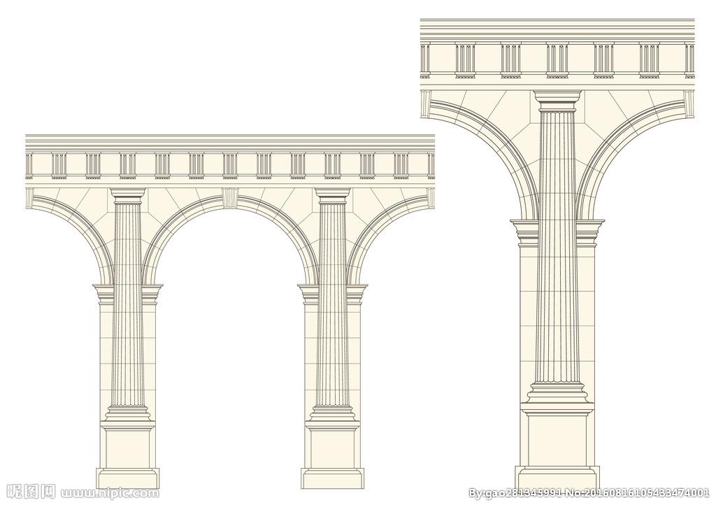 欧式柱子矢量设计图