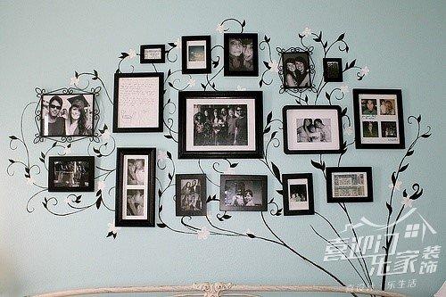 相框墙安装方法_12框照片墙创意组合浪漫心形相框墙