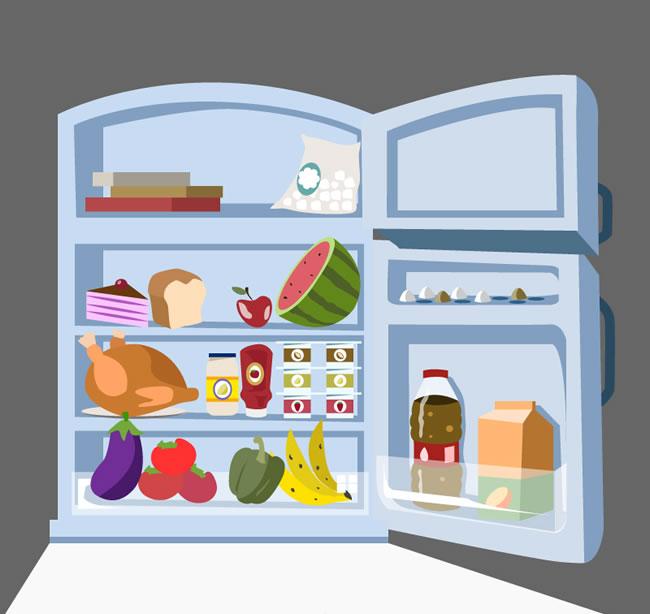 卡通冰箱矢量图卡通打开的冰箱矢量素材