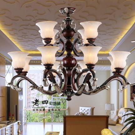 客厅吊灯饰中式仿古双层复式楼梯灯红木古典灯具欧式