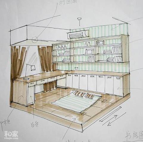 书房手绘图