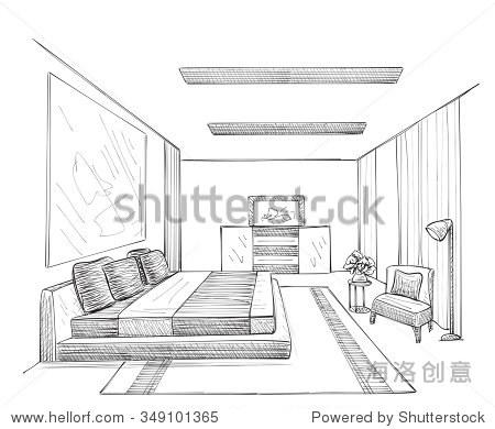 室内草图手绘的房间