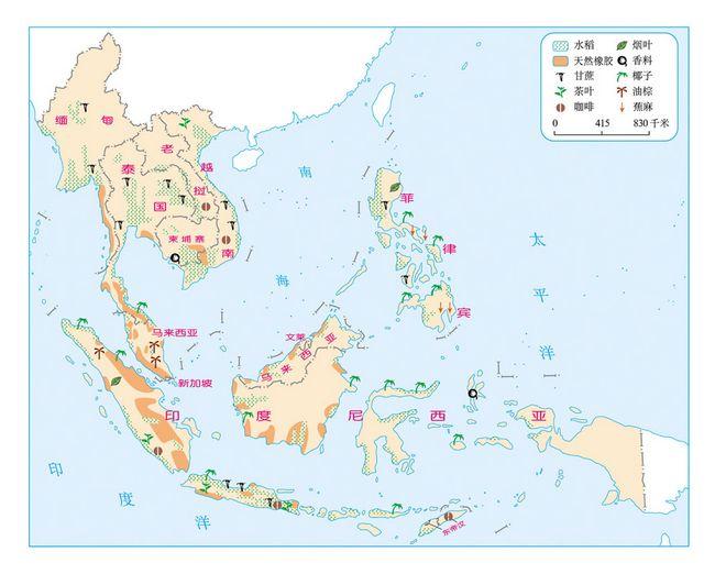 东南亚国家主要农作物的分布