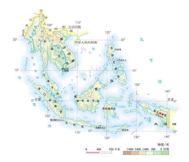 图7.20东南亚的地形