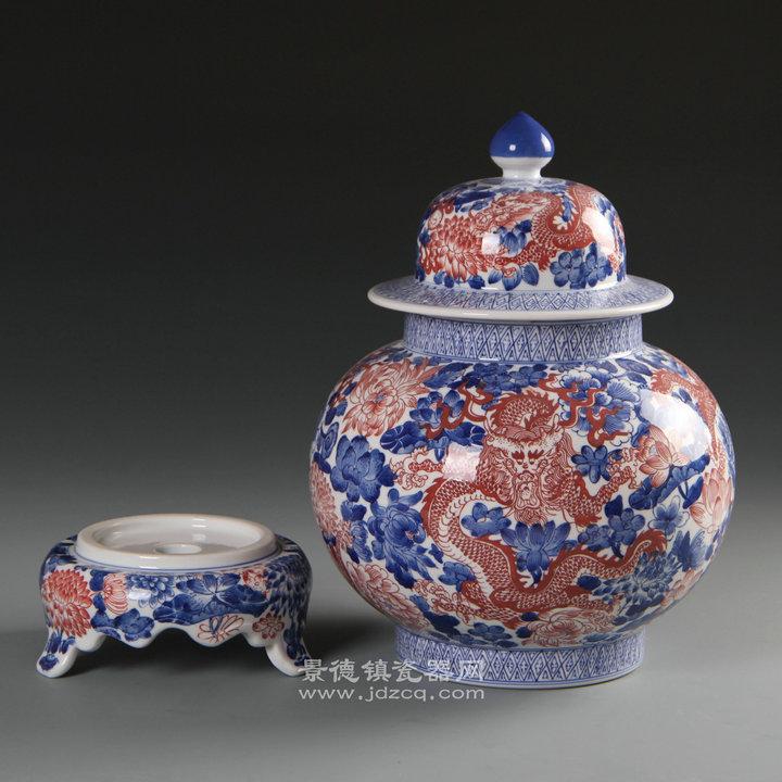 景德镇陶瓷手绘青花瓷六龙图花瓶包邮