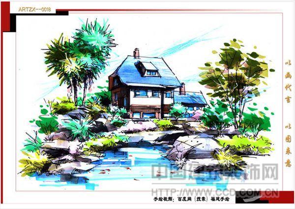 马克笔风景设计手绘图