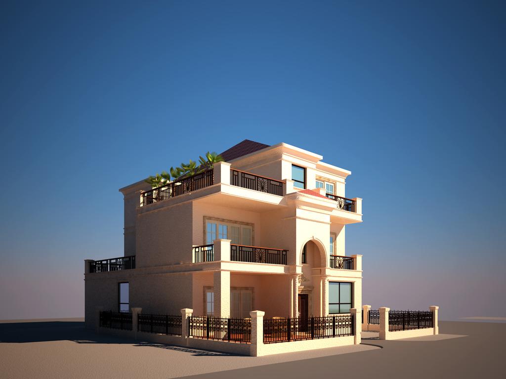 3d欧式别墅效果图模型室外建筑模型