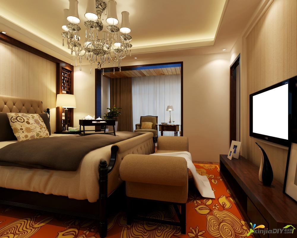 现代中式卧室效果�_现代中式卧室_现代中式_新家网装修效果图片大全