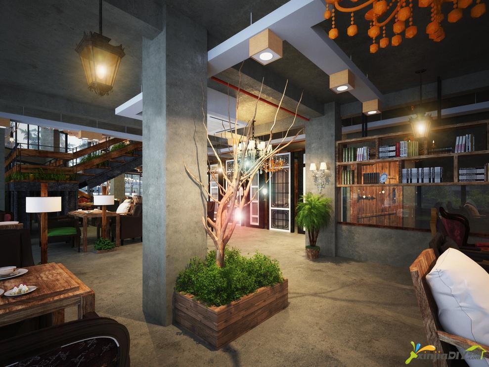 编号:894 - 咖啡厅装修效果图 - 复古风格咖啡厅装修图片装修效果图.