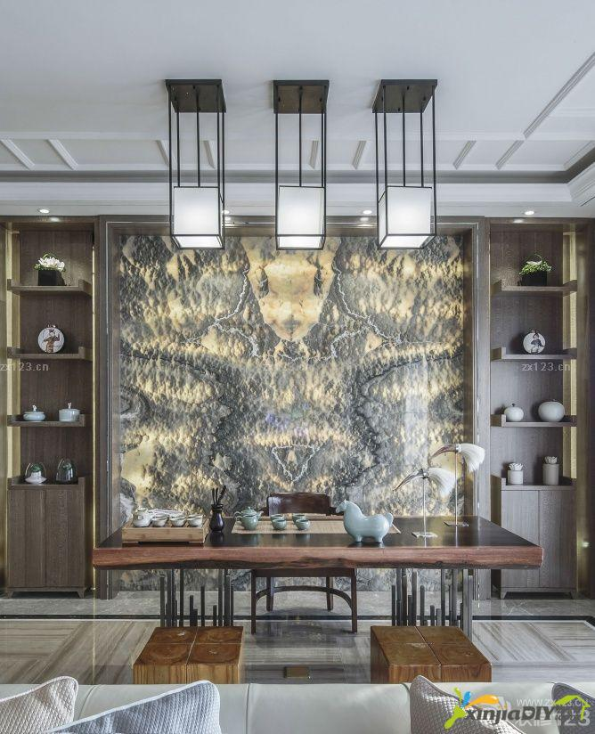 编号:957 - 家庭茶室装修效果图 - 104_家庭茶室背景墙装修设计效果图片