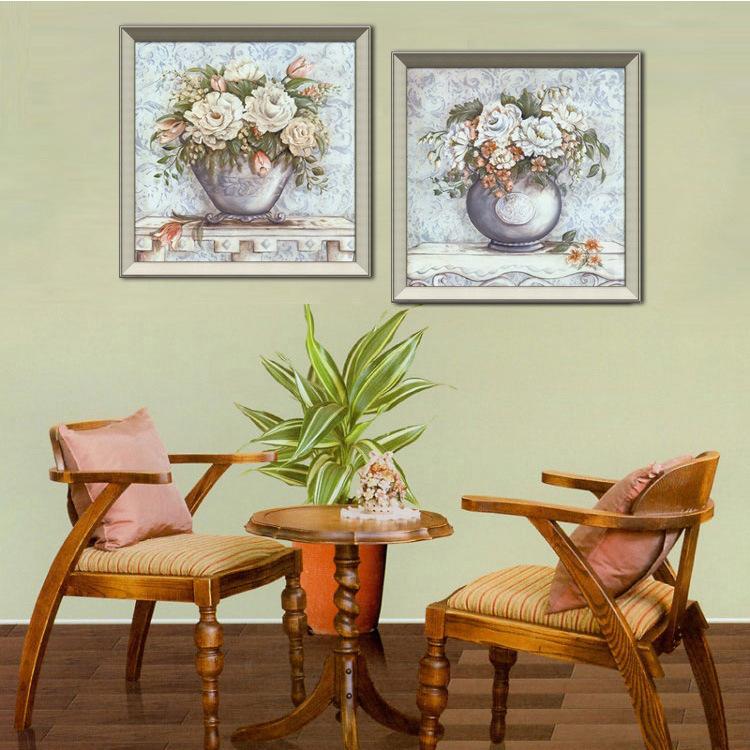 卧室床头挂画小清新书房花卉欧式客厅沙发背景墙壁装饰画(sl-019a-d)